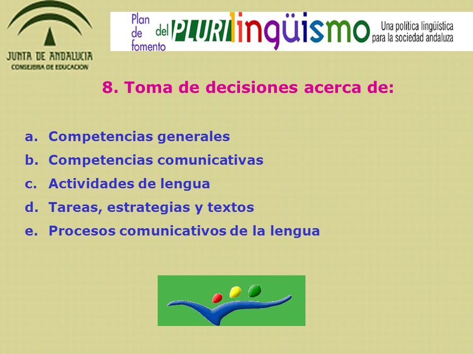 8. Toma de decisiones acerca de: a.Competencias generales b.Competencias comunicativas c.Actividades de lengua d.Tareas, estrategias y textos e.Proces
