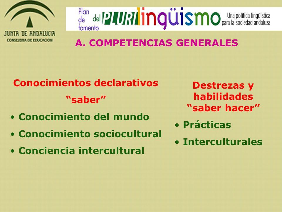 A. COMPETENCIAS GENERALES Conocimientos declarativos saber Conocimiento del mundo Conocimiento sociocultural Conciencia intercultural Destrezas y habi