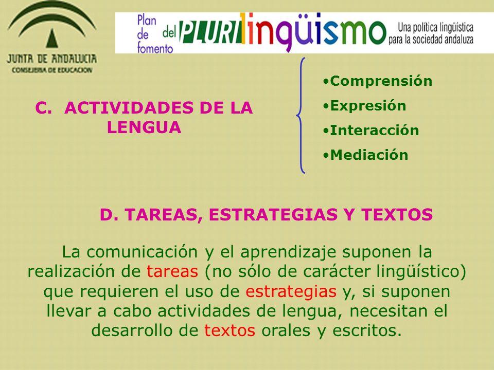 C. ACTIVIDADES DE LA LENGUA Comprensión Expresión Interacción Mediación La comunicación y el aprendizaje suponen la realización de tareas (no sólo de