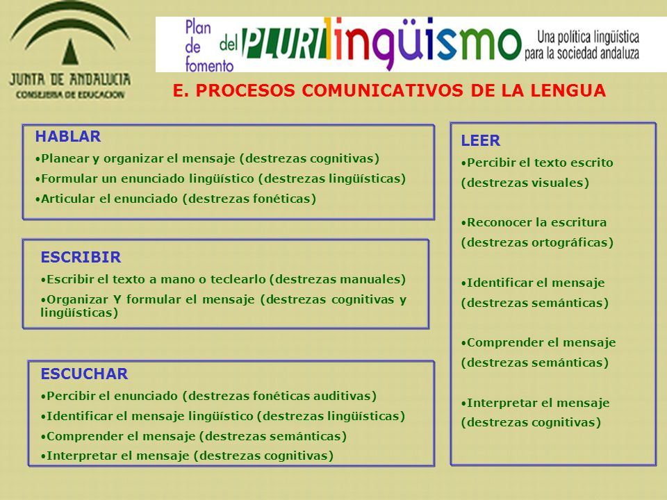 E. PROCESOS COMUNICATIVOS DE LA LENGUA HABLAR Planear y organizar el mensaje (destrezas cognitivas) Formular un enunciado lingüístico (destrezas lingü