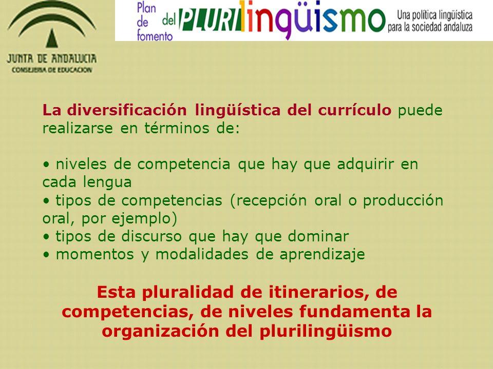 La diversificación lingüística del currículo puede realizarse en términos de: niveles de competencia que hay que adquirir en cada lengua tipos de comp