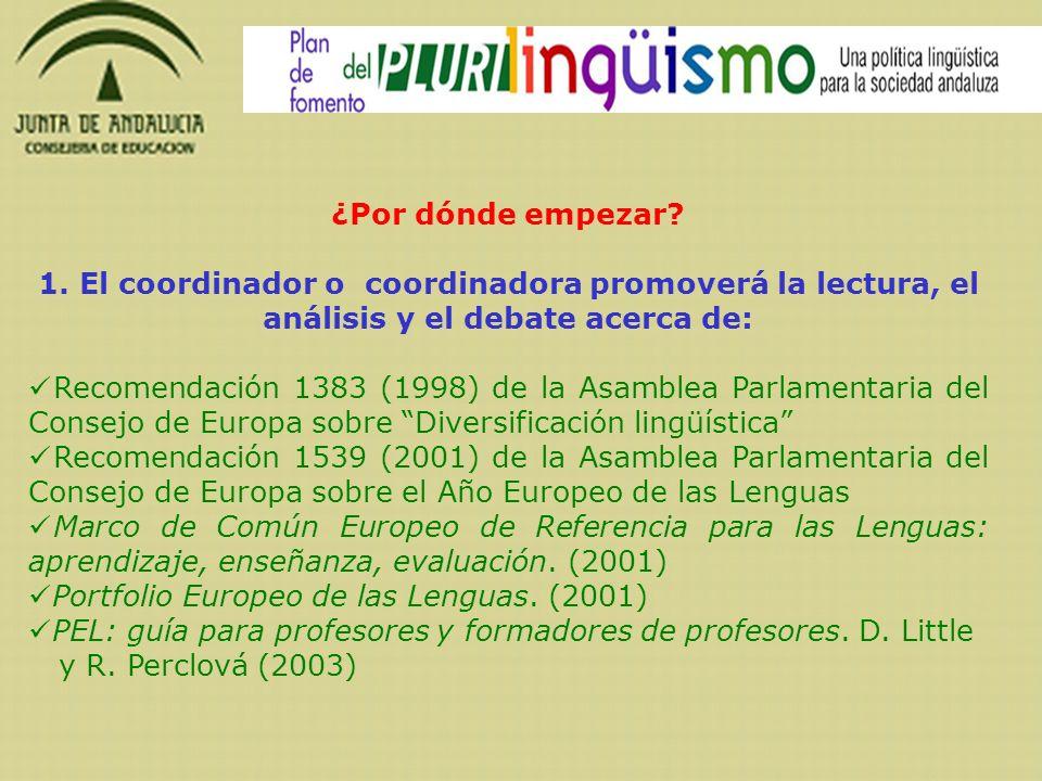 ¿Por dónde empezar? 1. El coordinador o coordinadora promoverá la lectura, el análisis y el debate acerca de: Recomendación 1383 (1998) de la Asamblea