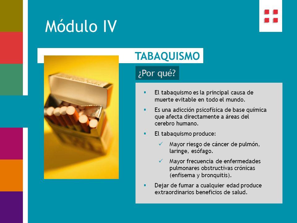 Módulo IV TABAQUISMO ¿Por qué? El tabaquismo es la principal causa de muerte evitable en todo el mundo. Es una adicción psicofísica de base química qu