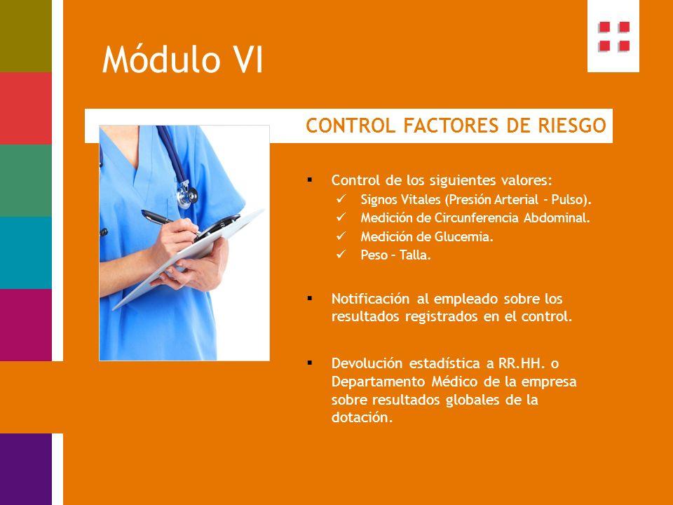 Módulo VI CONTROL FACTORES DE RIESGO Control de los siguientes valores: Signos Vitales (Presión Arterial - Pulso). Medición de Circunferencia Abdomina