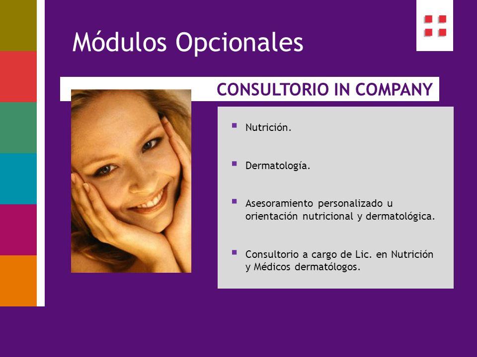 CONSULTORIO IN COMPANY Módulos Opcionales Nutrición. Dermatología. Asesoramiento personalizado u orientación nutricional y dermatológica. Consultorio
