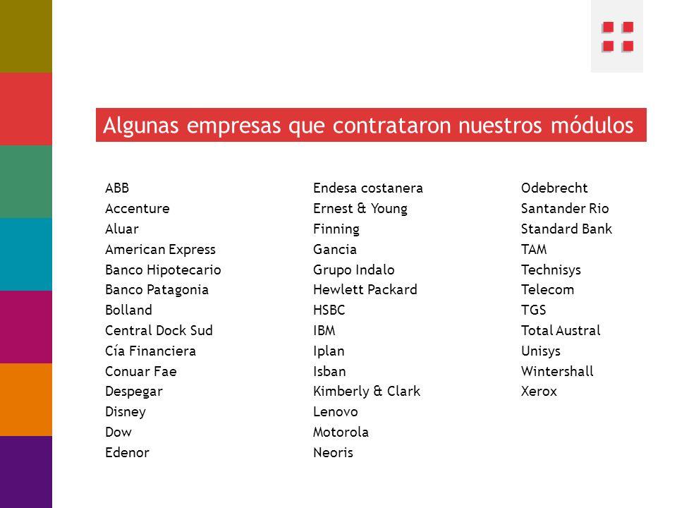 Algunas empresas que contrataron nuestros módulos ABB Accenture Aluar American Express Banco Hipotecario Banco Patagonia Bolland Central Dock Sud Cía