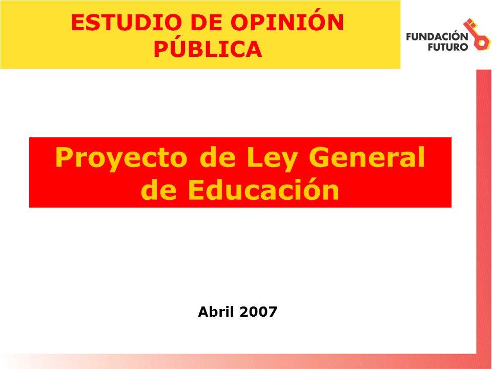 Proyecto de Ley General de Educación Abril 2007 ESTUDIO DE OPINIÓN PÚBLICA