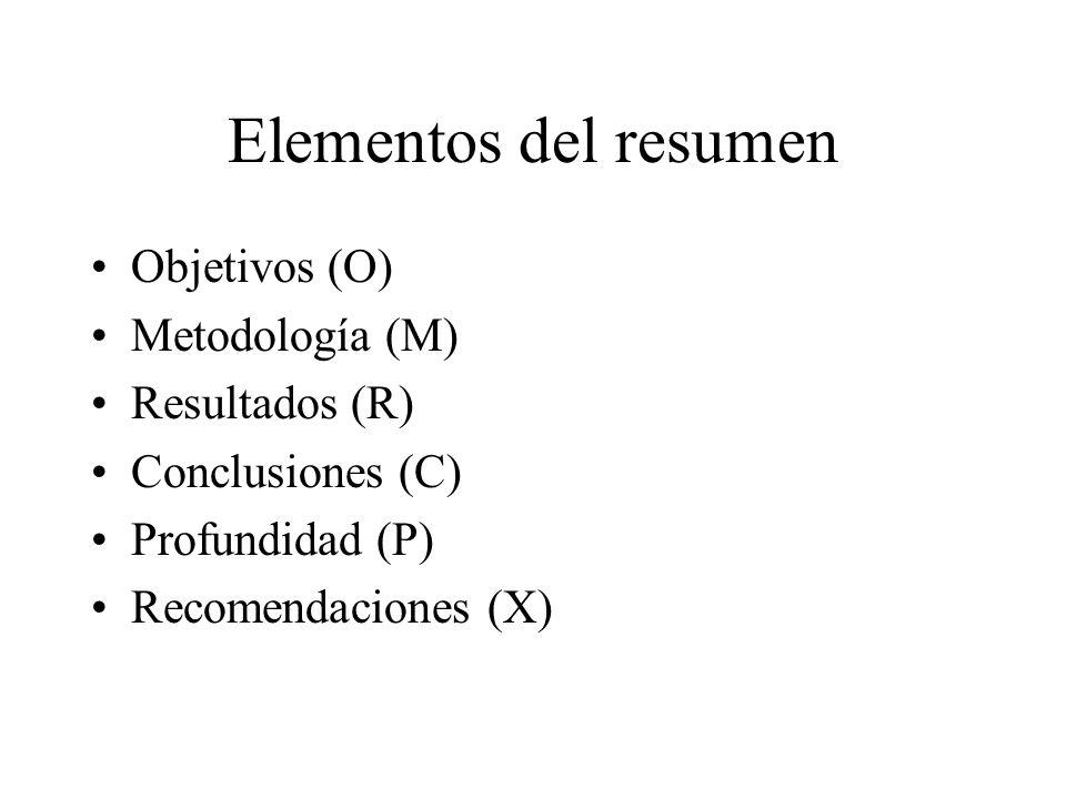 Elementos del resumen Objetivos (O) Metodología (M) Resultados (R) Conclusiones (C) Profundidad (P) Recomendaciones (X)