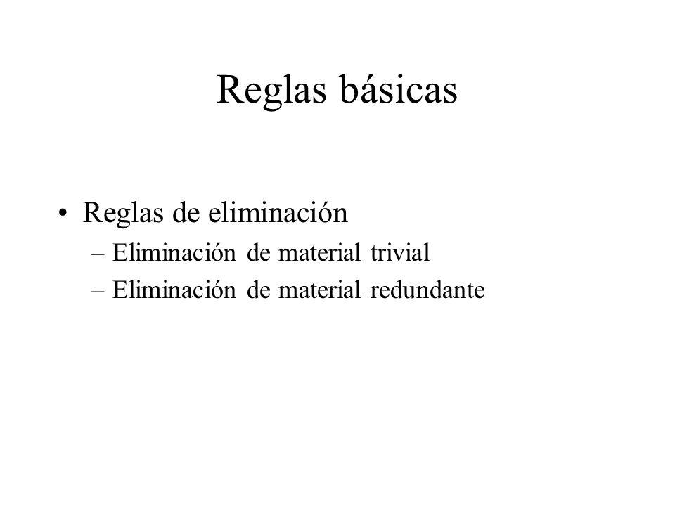 Reglas básicas Reglas de eliminación –Eliminación de material trivial –Eliminación de material redundante