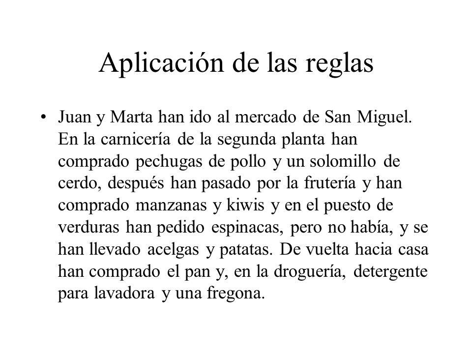 Aplicación de las reglas Juan y Marta han ido al mercado de San Miguel.