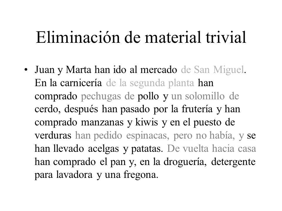 Eliminación de material trivial Juan y Marta han ido al mercado de San Miguel.