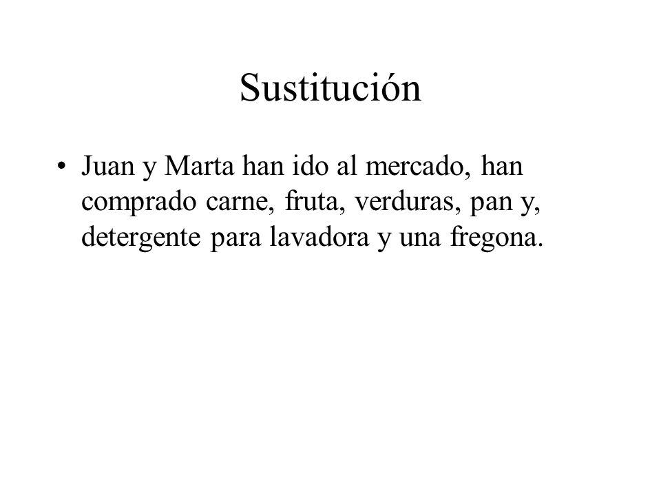 Sustitución Juan y Marta han ido al mercado, han comprado carne, fruta, verduras, pan y, detergente para lavadora y una fregona.