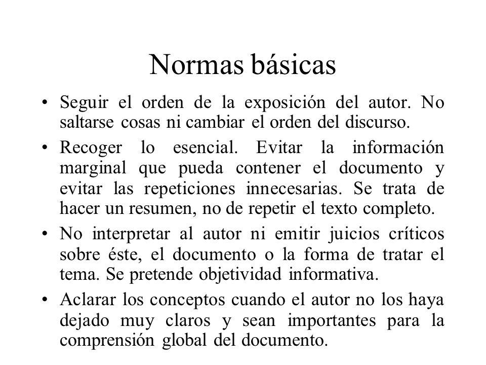 Normas básicas Seguir el orden de la exposición del autor.