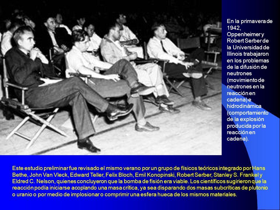 En la primavera de 1942, Oppenheimer y Robert Serber de la Universidad de Illinois trabajaron en los problemas de la difusión de neutrones (movimiento