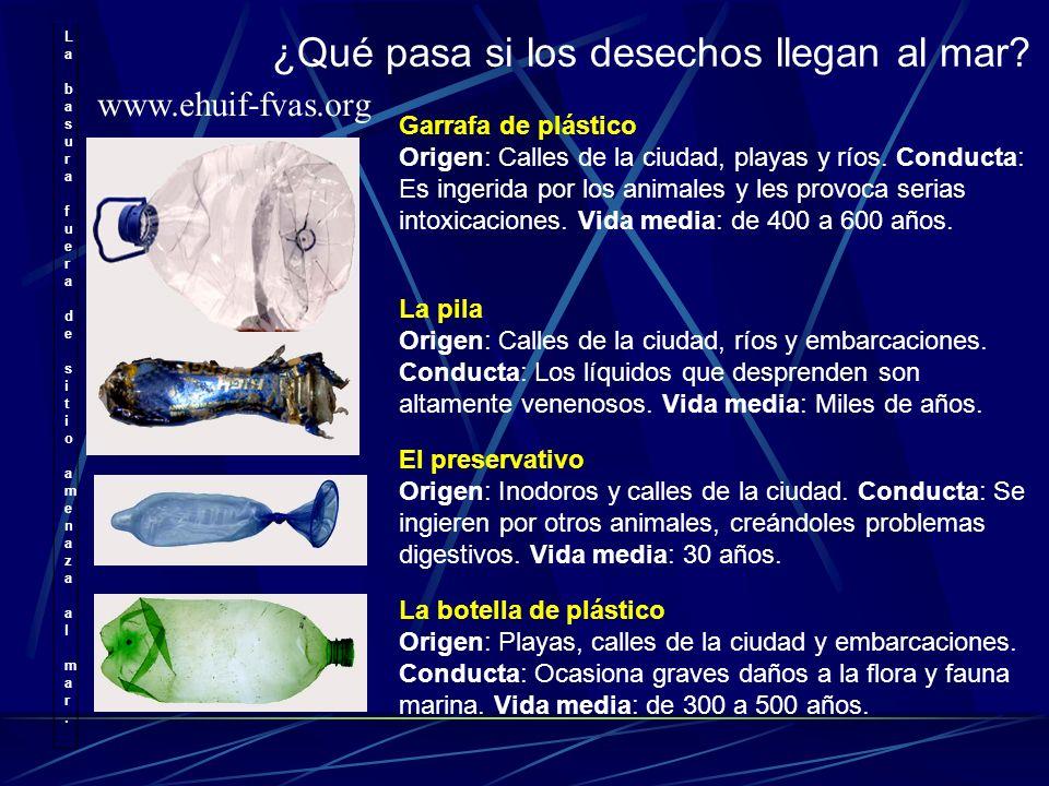 La basura fuera de sitio amenaza al mar. La basura fuera de sitio amenaza al mar. ¿Qué pasa si los desechos llegan al mar? Garrafa de plástico Origen: