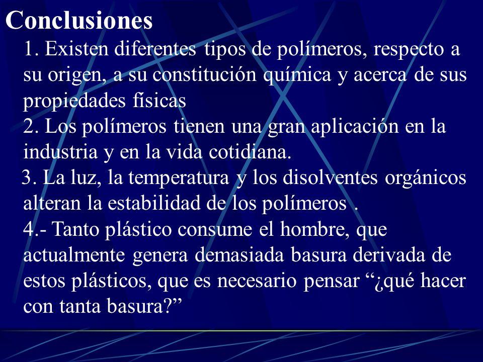 Conclusiones 1. Existen diferentes tipos de polímeros, respecto a su origen, a su constitución química y acerca de sus propiedades físicas 2. Los polí