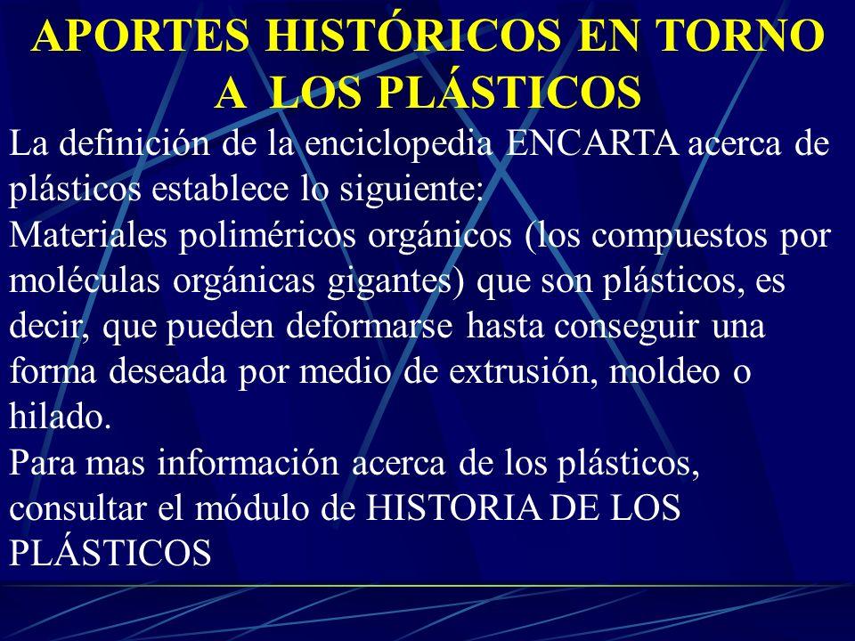 APORTES HISTÓRICOS EN TORNO A LOS PLÁSTICOS La definición de la enciclopedia ENCARTA acerca de plásticos establece lo siguiente: Materiales polimérico
