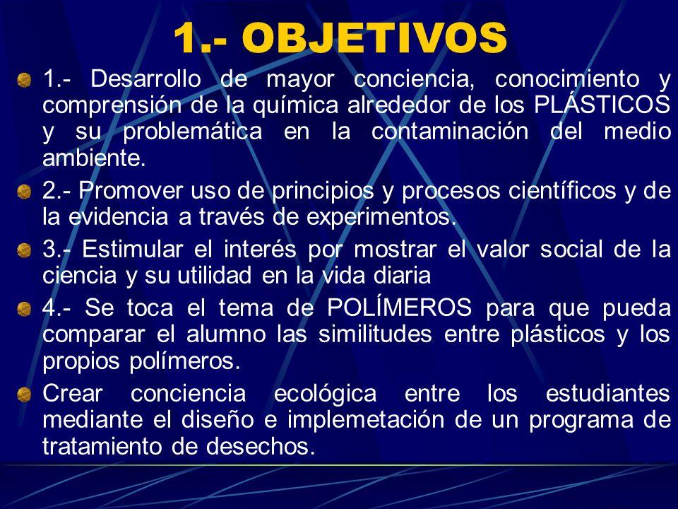 1.- OBJETIVOS 1.- Desarrollo de mayor conciencia, conocimiento y comprensión de la química alrededor de los PLÁSTICOS y su problemática en la contamin