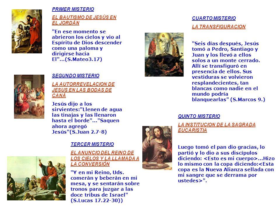 LOS MISTERIOS LUMINOSOS DIAS: JUEVES