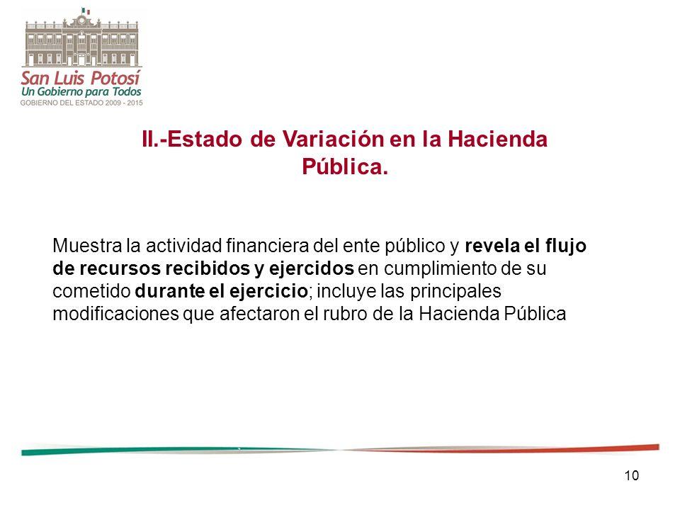10 II.-Estado de Variación en la Hacienda Pública. Muestra la actividad financiera del ente público y revela el flujo de recursos recibidos y ejercido