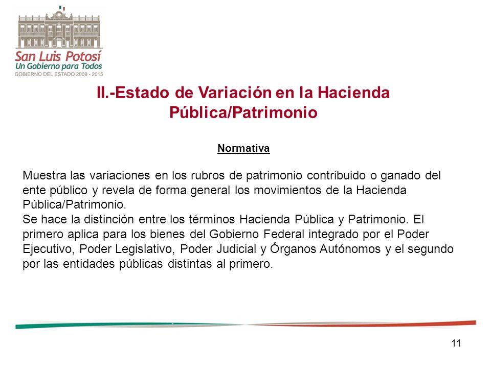 11 II.-Estado de Variación en la Hacienda Pública/Patrimonio Normativa Muestra las variaciones en los rubros de patrimonio contribuido o ganado del en
