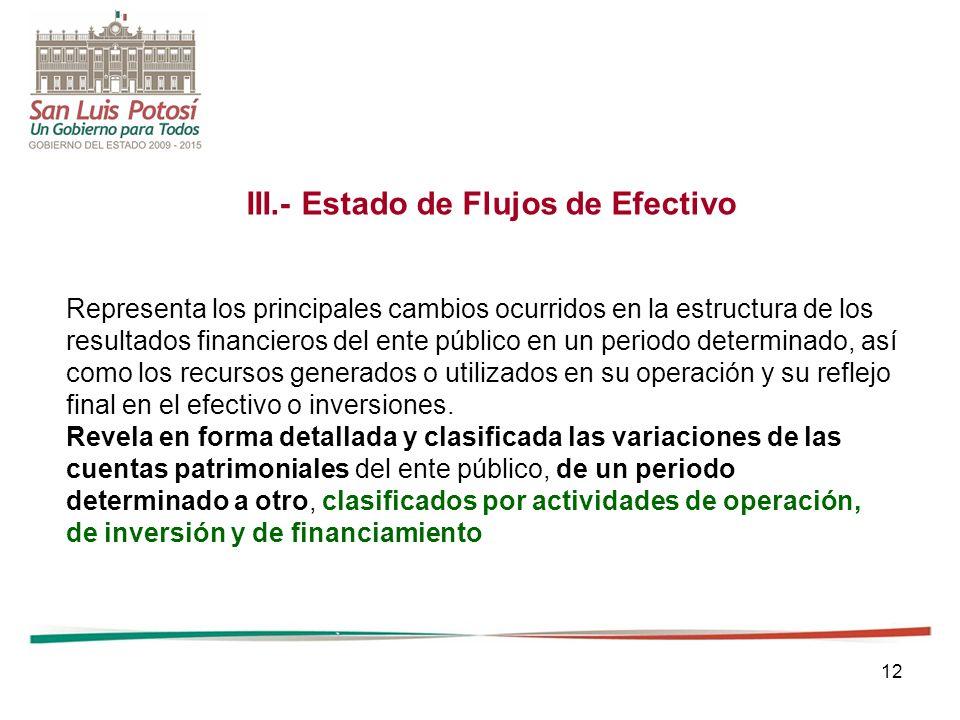12 III.- Estado de Flujos de Efectivo Representa los principales cambios ocurridos en la estructura de los resultados financieros del ente público en