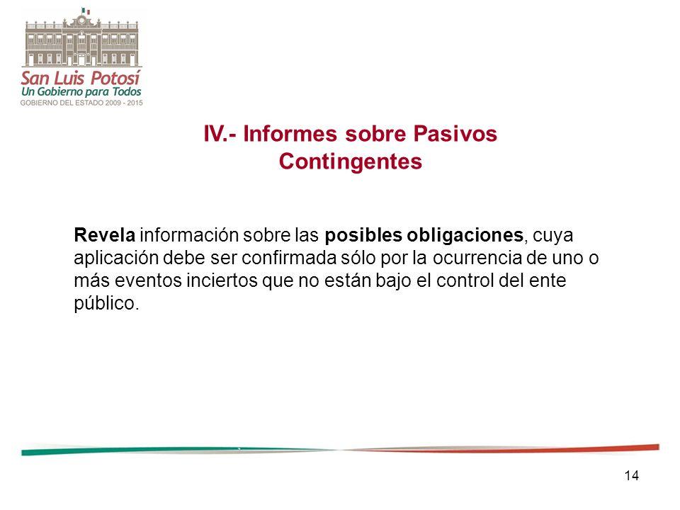 14 IV.- Informes sobre Pasivos Contingentes Revela información sobre las posibles obligaciones, cuya aplicación debe ser confirmada sólo por la ocurre