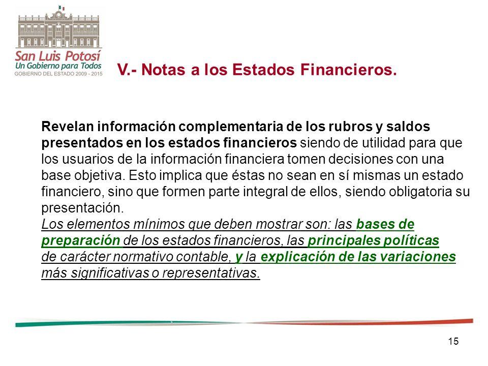 15 V.- Notas a los Estados Financieros. Revelan información complementaria de los rubros y saldos presentados en los estados financieros siendo de uti
