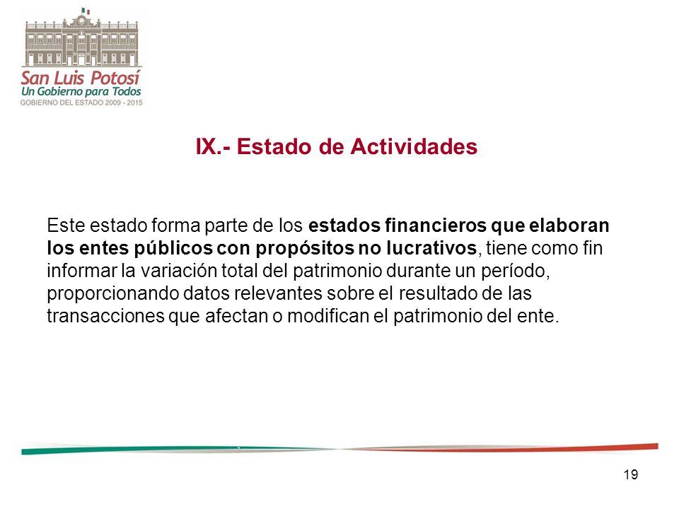 19 IX.- Estado de Actividades Este estado forma parte de los estados financieros que elaboran los entes públicos con propósitos no lucrativos, tiene c