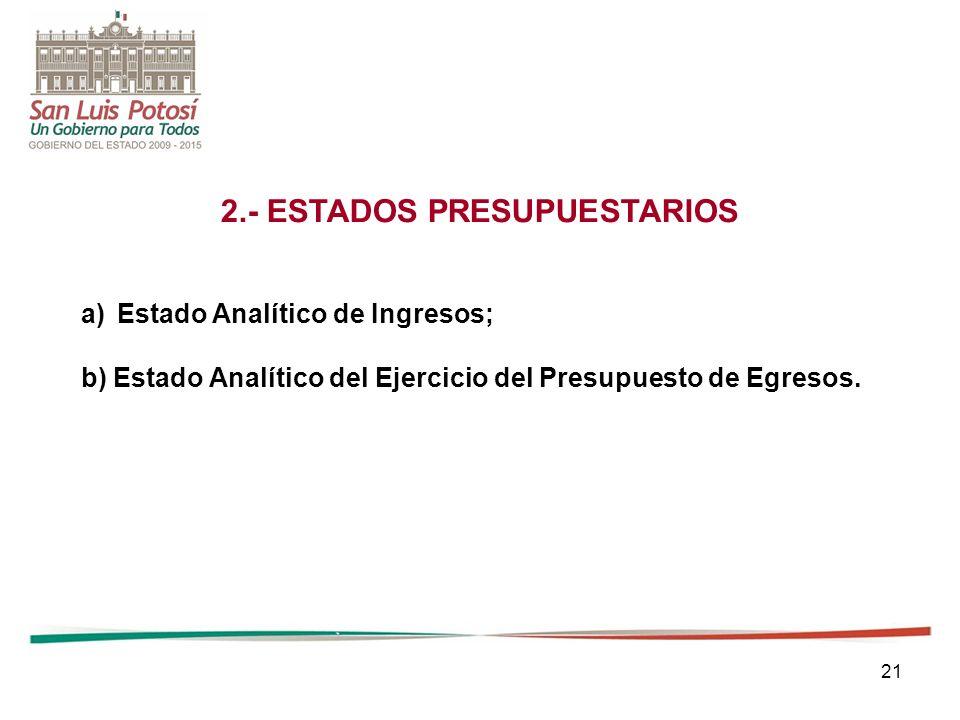 21 2.- ESTADOS PRESUPUESTARIOS a)Estado Analítico de Ingresos; b) Estado Analítico del Ejercicio del Presupuesto de Egresos.