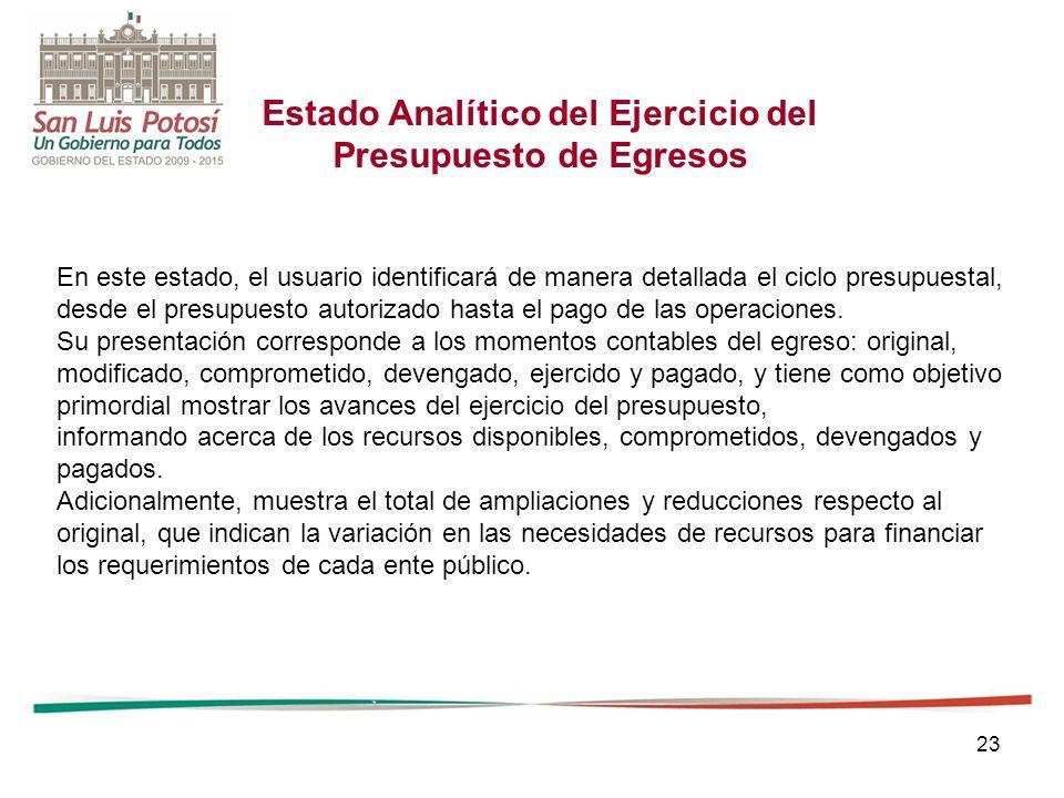 23 Estado Analítico del Ejercicio del Presupuesto de Egresos En este estado, el usuario identificará de manera detallada el ciclo presupuestal, desde