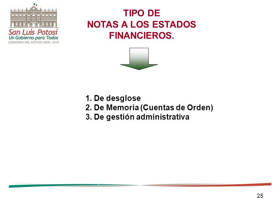 25 TIPO DE NOTAS A LOS ESTADOS FINANCIEROS. 1. De desglose 2. De Memoria (Cuentas de Orden) 3. De gestión administrativa