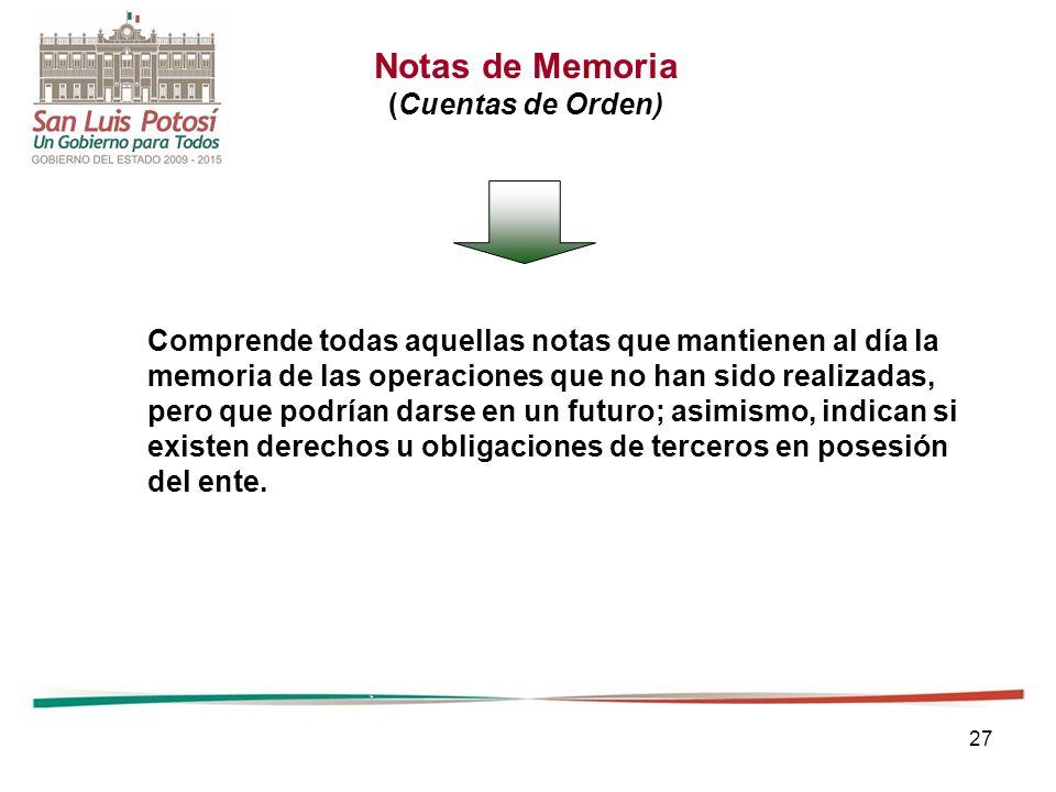 27 Comprende todas aquellas notas que mantienen al día la memoria de las operaciones que no han sido realizadas, pero que podrían darse en un futuro;