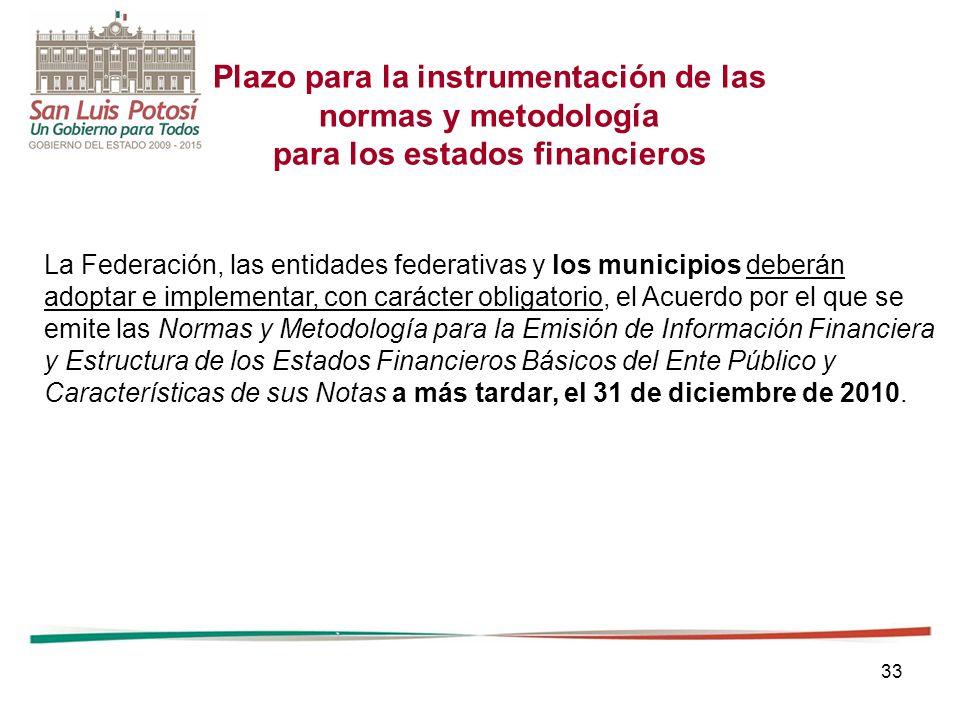 33 Plazo para la instrumentación de las normas y metodología para los estados financieros La Federación, las entidades federativas y los municipios de