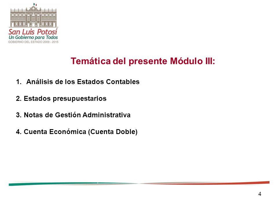 4 Temática del presente Módulo III: 1.Análisis de los Estados Contables 2. Estados presupuestarios 3. Notas de Gestión Administrativa 4. Cuenta Económ