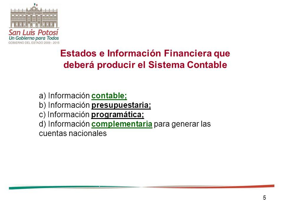 5 Estados e Información Financiera que deberá producir el Sistema Contable a) Información contable; b) Información presupuestaria; c) Información prog