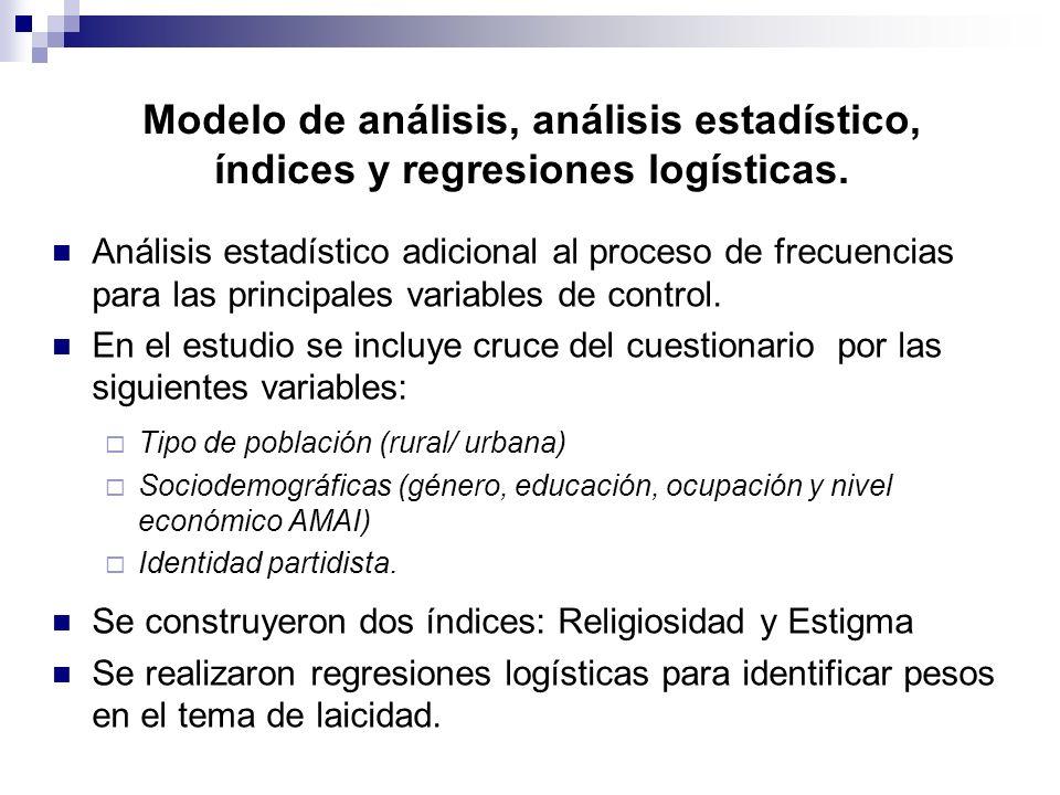 Modelo de análisis, análisis estadístico, índices y regresiones logísticas. Análisis estadístico adicional al proceso de frecuencias para las principa
