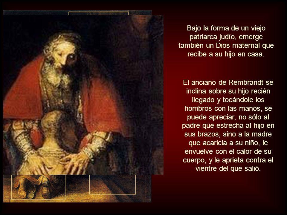 El padre: un anciano medio ciego con barba y bigote, vestido con una ropa bordada en oro y una túnica de rojo intenso. Rembrandt, después de pasar por