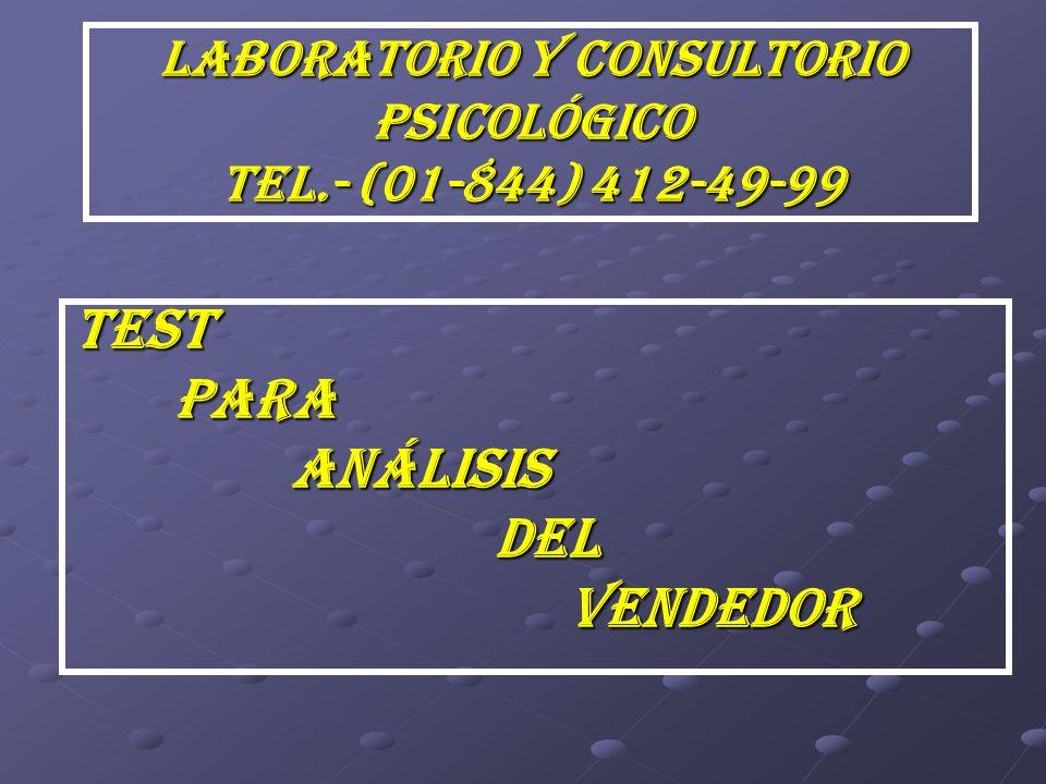 LABORATORIO Y CONSULTORIO PSICOLÓGICO TEL.- (01-844) 412-49-99 TEST PARA PARA ANÁLISIS ANÁLISIS DEL DEL VENDEDOR VENDEDOR