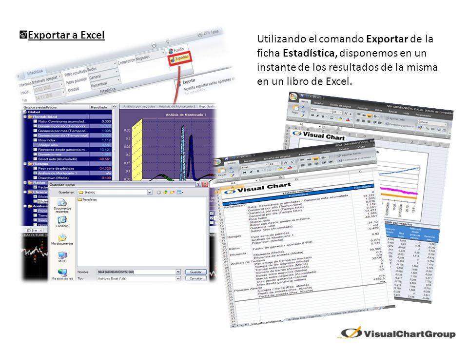 Exportar a Excel Utilizando el comando Exportar de la ficha Estadística, disponemos en un instante de los resultados de la misma en un libro de Excel.