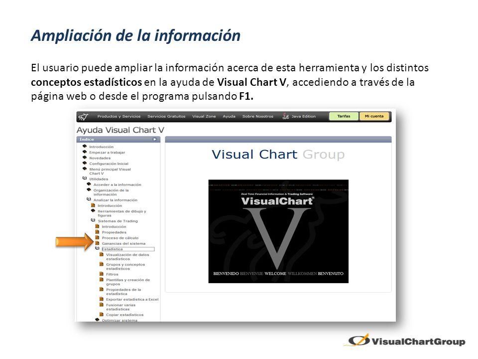 Ampliación de la información El usuario puede ampliar la información acerca de esta herramienta y los distintos conceptos estadísticos en la ayuda de Visual Chart V, accediendo a través de la página web o desde el programa pulsando F1.