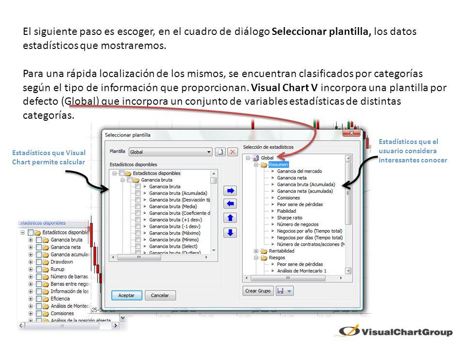 El siguiente paso es escoger, en el cuadro de diálogo Seleccionar plantilla, los datos estadísticos que mostraremos. Para una rápida localización de l