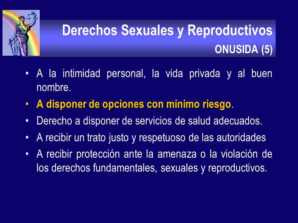 Derechos Sexuales y Reproductivos ONUSIDA (4 ) Al reconocimiento y aceptación de sí mismo, como hombre, como mujer y como ser sexuado. A la igualdad d