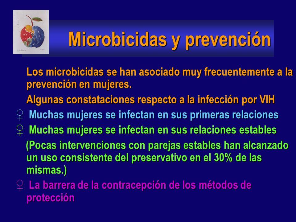 Microbicidas y prevención Los microbicidas pueden jugar una variedad de papeles en un programa global de prevención: Pueden ser usados junto al condón