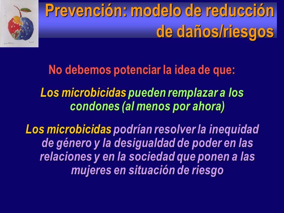 Mensajes encaminados Mensajes encaminados : Microbicidas + preservativo = más placer más protección. Los microbicidas no sustituyen al condón pero son