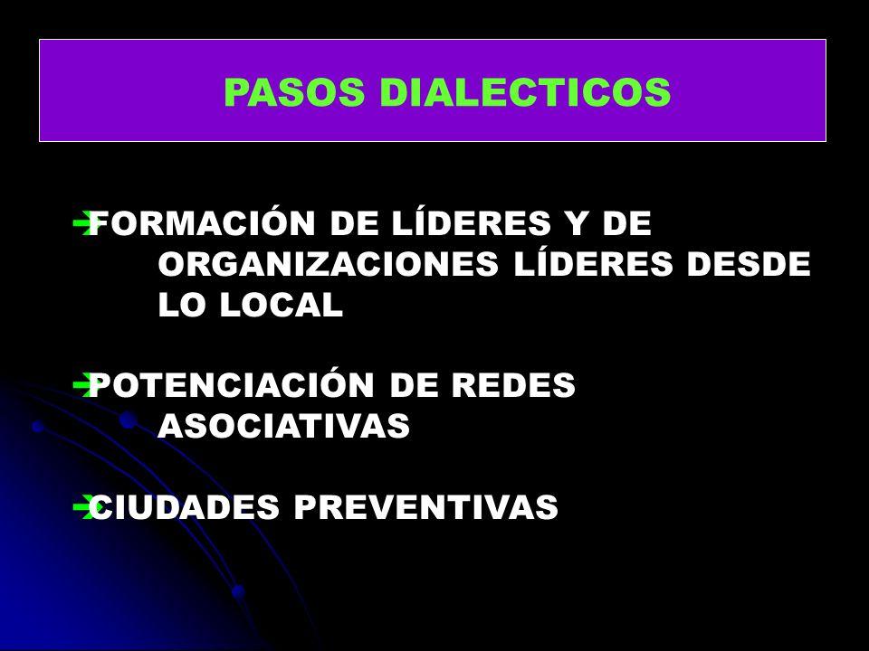 PASOS DIALECTICOS FORMACIÓN DE LÍDERES Y DE ORGANIZACIONES LÍDERES DESDE LO LOCAL POTENCIACIÓN DE REDES ASOCIATIVAS CIUDADES PREVENTIVAS