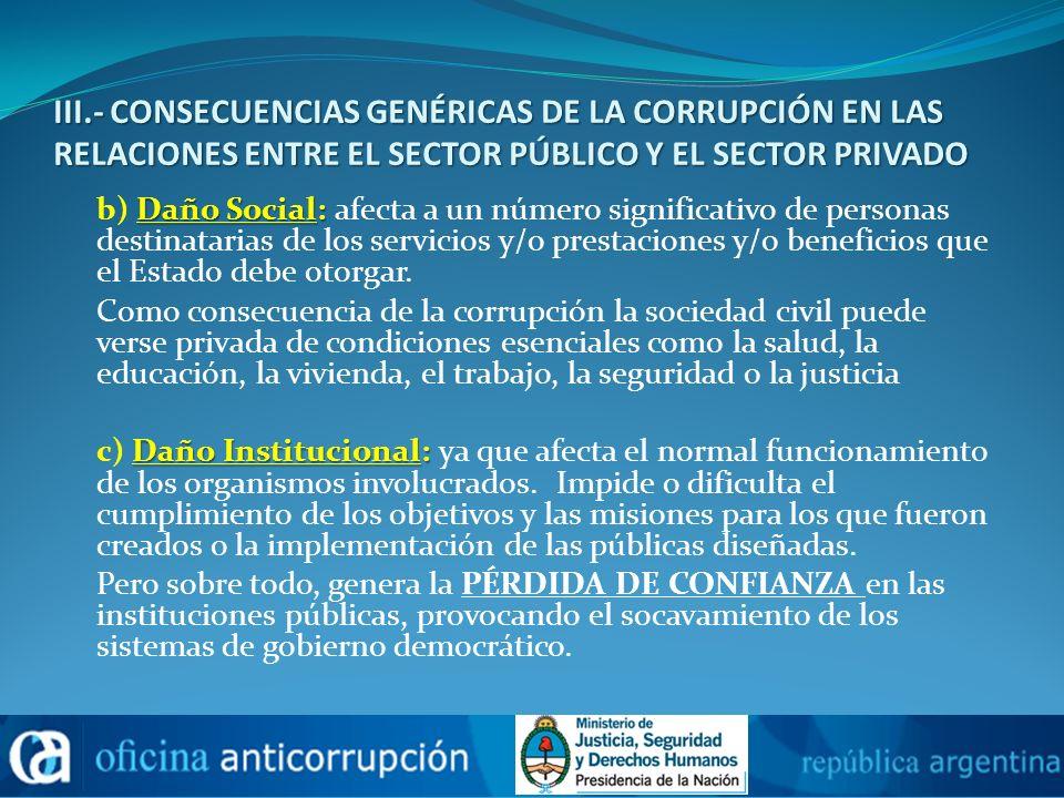 III.- CONSECUENCIAS GENÉRICAS DE LA CORRUPCIÓN EN LAS RELACIONES ENTRE EL SECTOR PÚBLICO Y EL SECTOR PRIVADO Daño Social: b) Daño Social: afecta a un