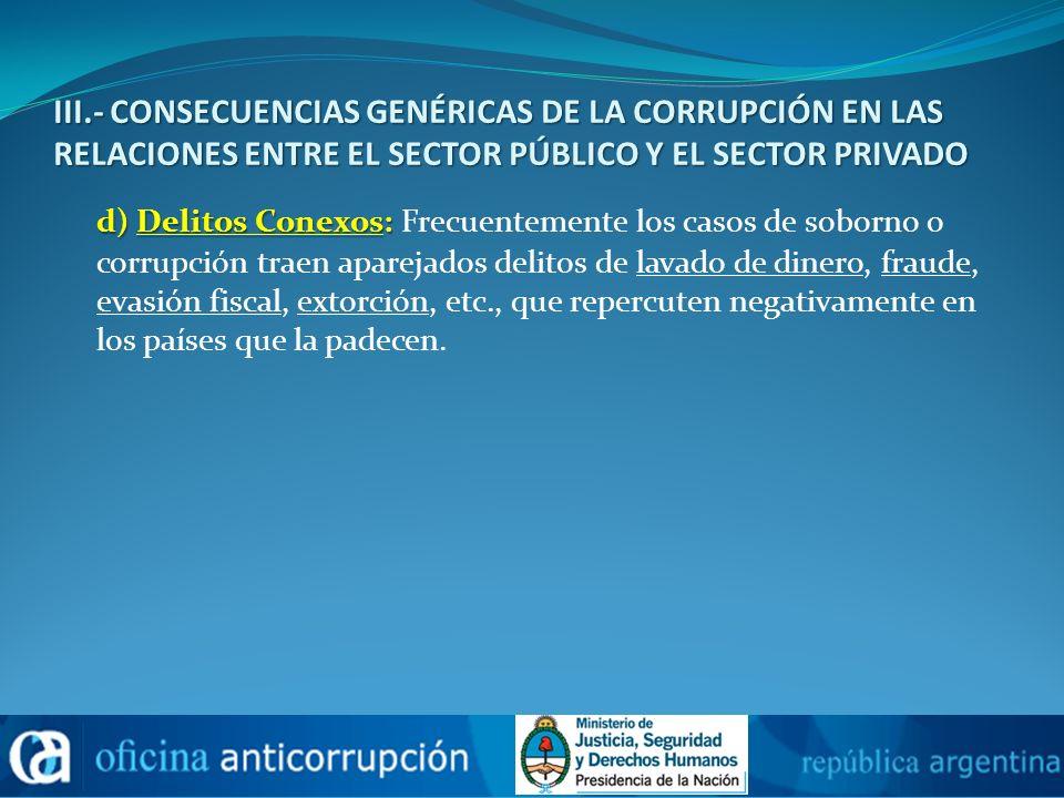 III.- CONSECUENCIAS GENÉRICAS DE LA CORRUPCIÓN EN LAS RELACIONES ENTRE EL SECTOR PÚBLICO Y EL SECTOR PRIVADO d) Delitos Conexos: d) Delitos Conexos: F