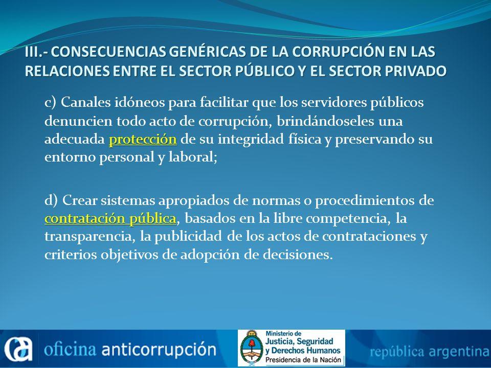 III.- CONSECUENCIAS GENÉRICAS DE LA CORRUPCIÓN EN LAS RELACIONES ENTRE EL SECTOR PÚBLICO Y EL SECTOR PRIVADO protección c) Canales idóneos para facili