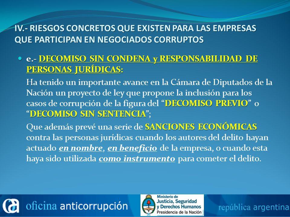 IV.- RIESGOS CONCRETOS QUE EXISTEN PARA LAS EMPRESAS QUE PARTICIPAN EN NEGOCIADOS CORRUPTOS e.- DECOMISO SIN CONDENA y RESPONSABILIDAD DE PERSONAS JUR